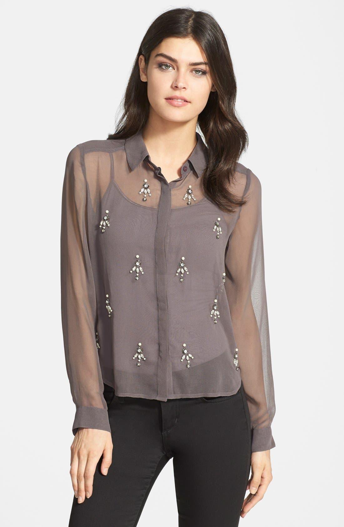 Main Image - Chelsea28 Embellished Sheer Shirt