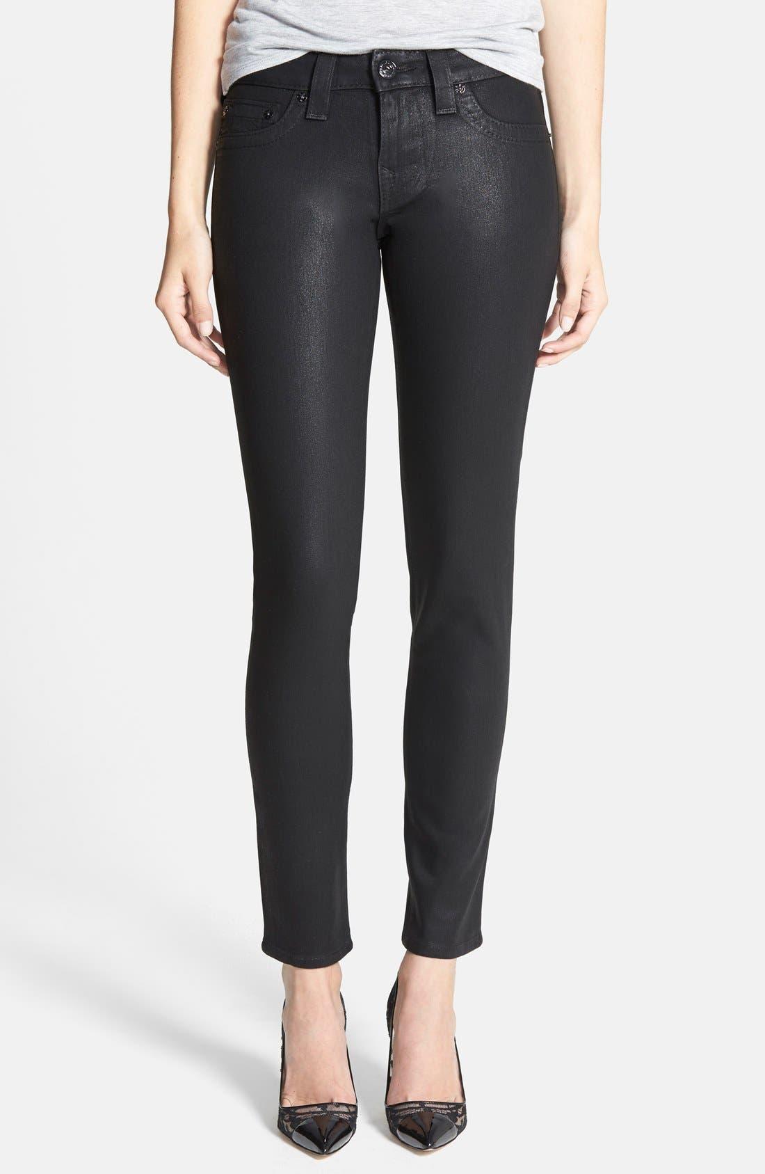 Alternate Image 1 Selected - True Religion Brand Jeans 'Halle - Super Vixen' Coated Skinny Jeans (Black)