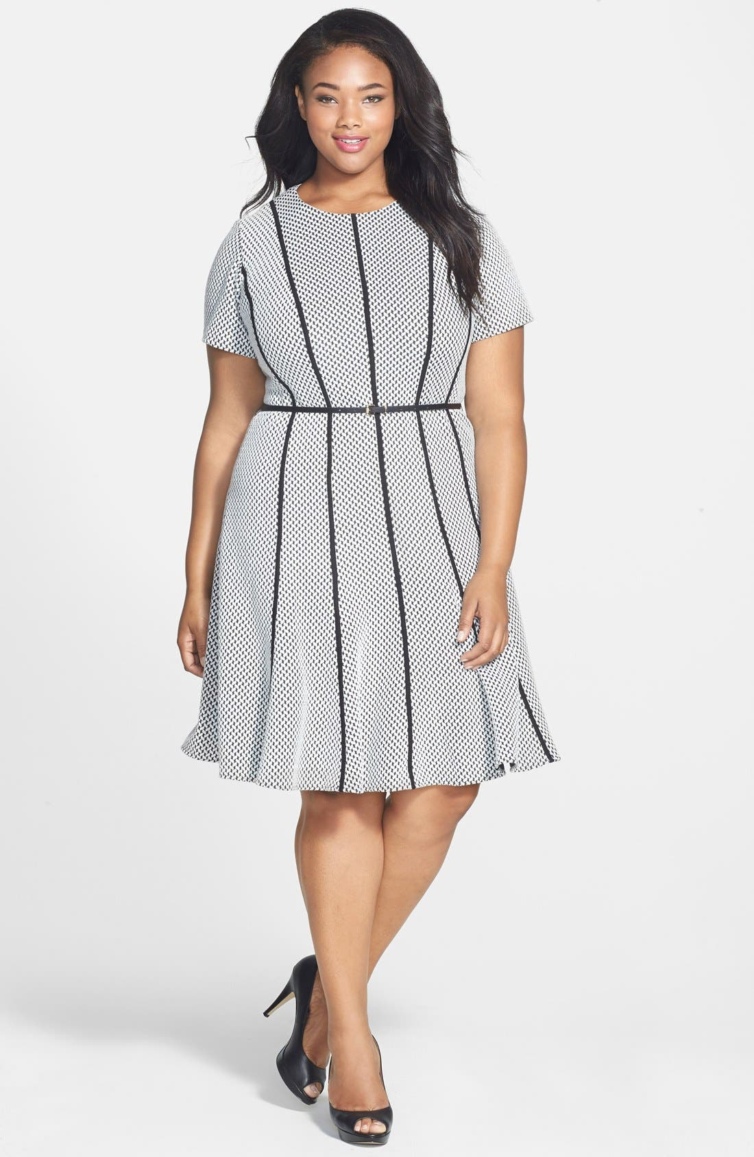 Main Image - Calvin Klein Belted Textured Ponte Fit & Flare Dress (Plus Size)