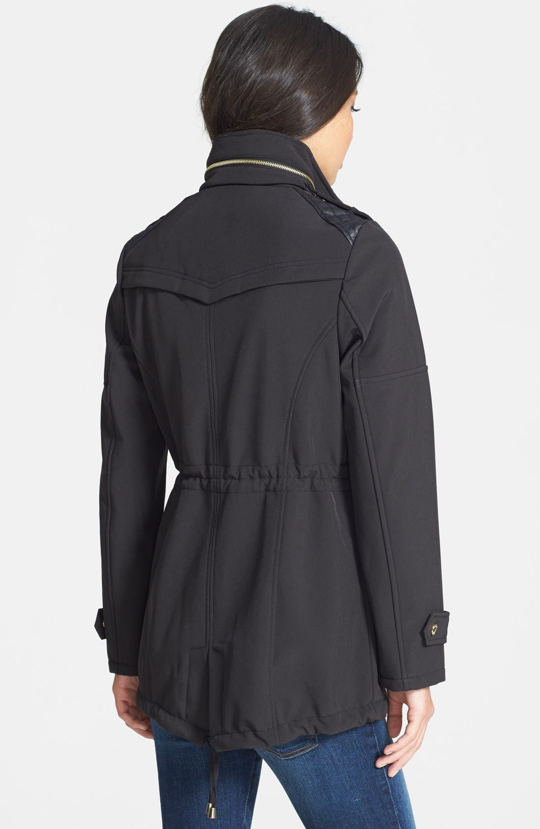 Alternate Image 2  - MICHAEL Michael Kors Faux Leather Detail Anorak with Stowaway Hood