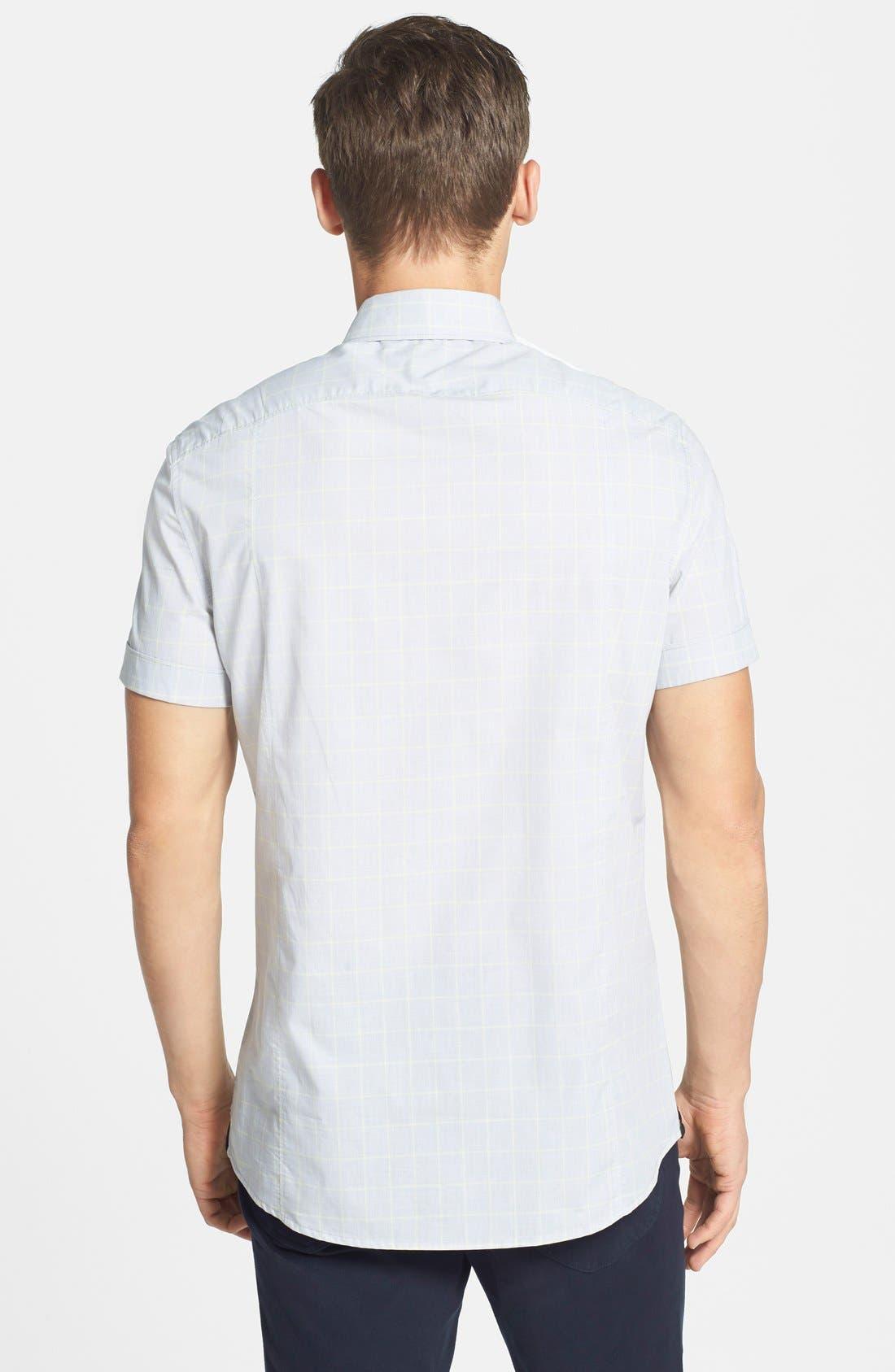 Alternate Image 2  - Kenneth Cole New York Trim Fit Short Sleeve Windowpane Plaid Sport Shirt