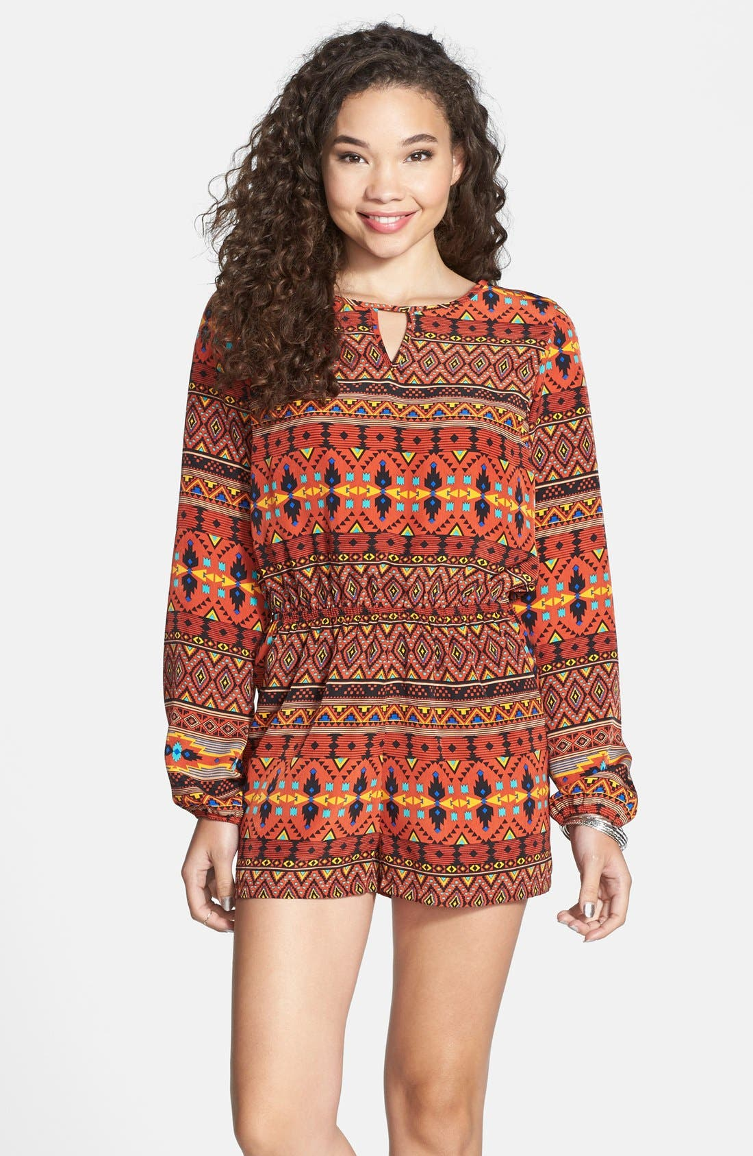 Alternate Image 1 Selected - One Clothing Long Sleeve Romper (Juniors)