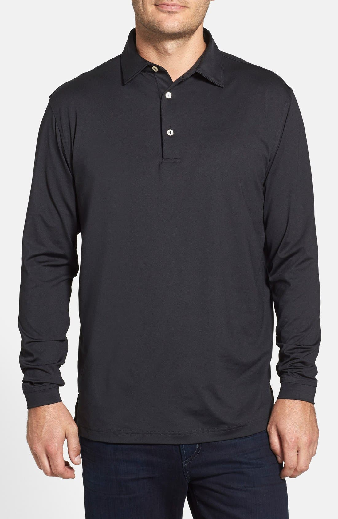 Alternate Image 1 Selected - Peter Millar Moisture Wicking Stretch Long Sleeve Polo