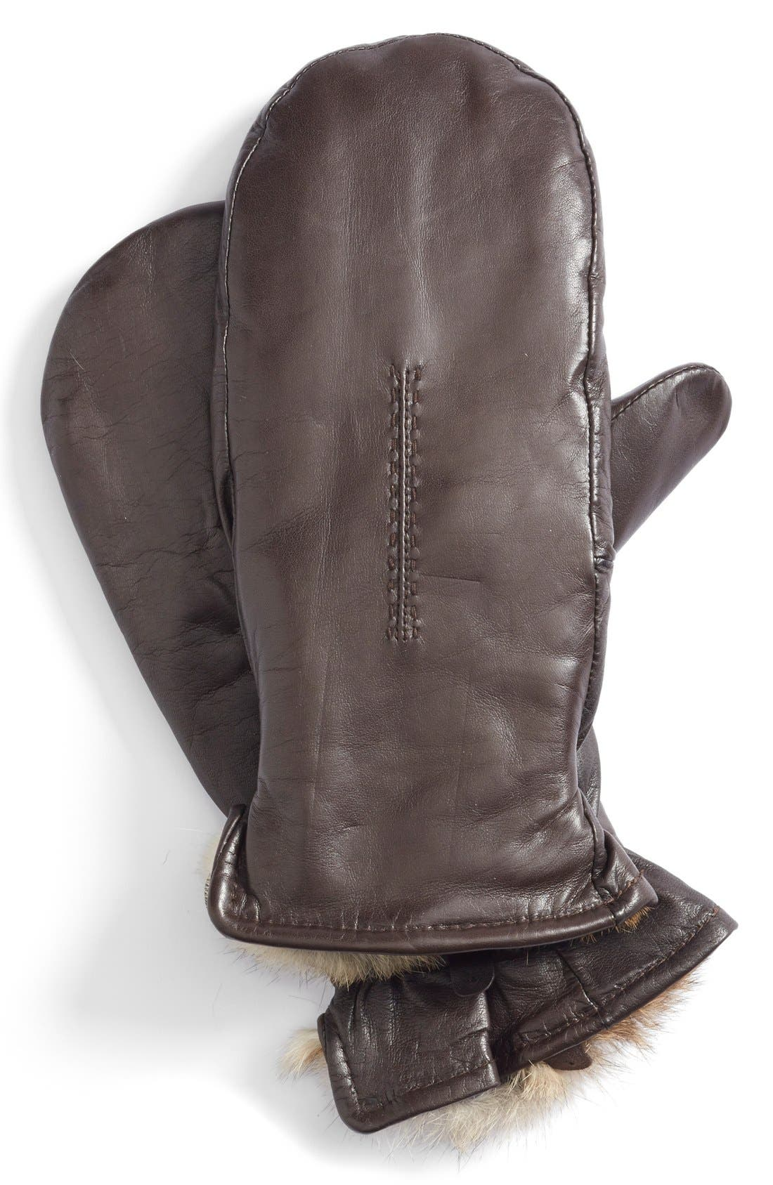 Genuine Rabbit Fur Lined Leather Mittens,                             Alternate thumbnail 2, color,                             Brown