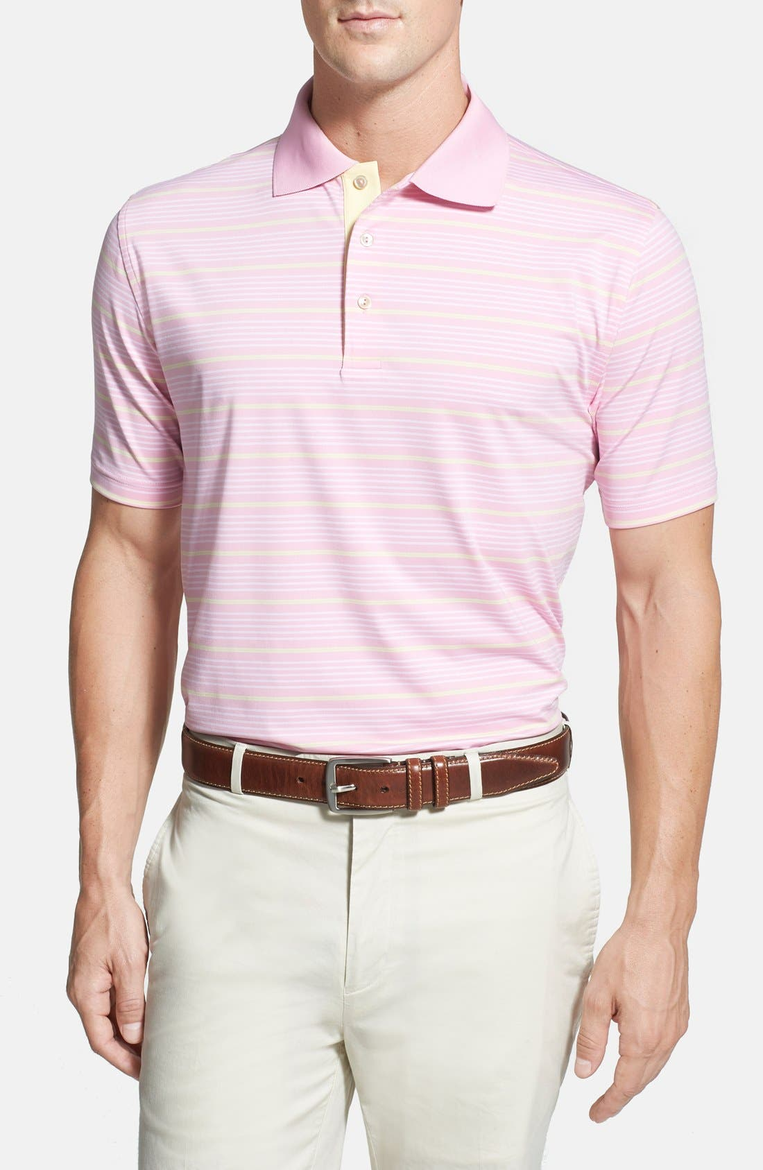 'Staley' Moisture Wicking Polo,                         Main,                         color, Bermuda Pink