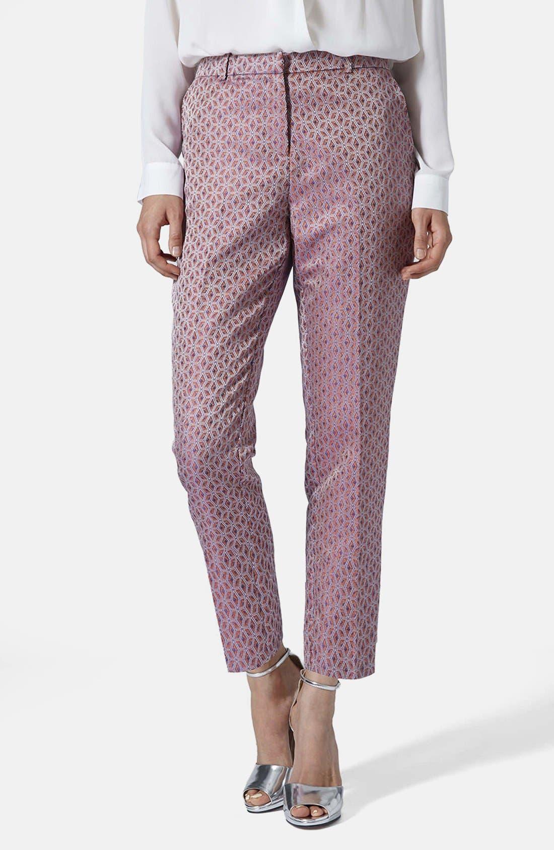 Alternate Image 1 Selected - Topshop Jacquard Cigarette Pants