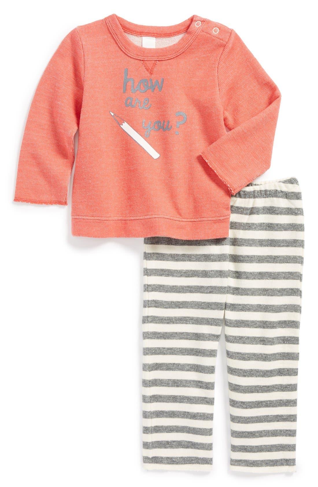 Main Image - Stem Baby 'How Are You?' Organic Cotton Sweatshirt & Pants (Baby)