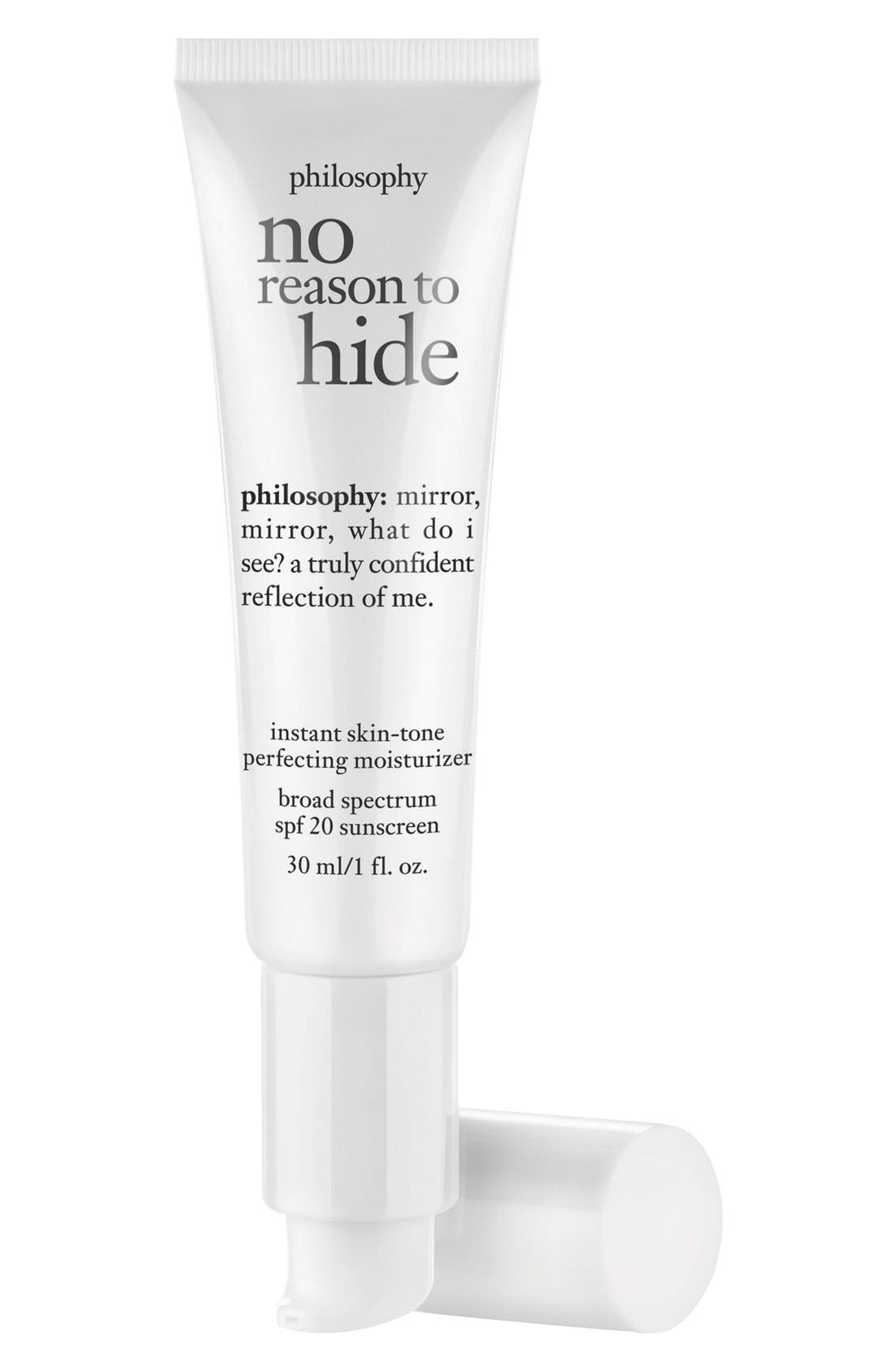 philosophy 'no reason to hide' instant skin-tone perfecting moisturizer broad spectrum SPF 20 sunscreen
