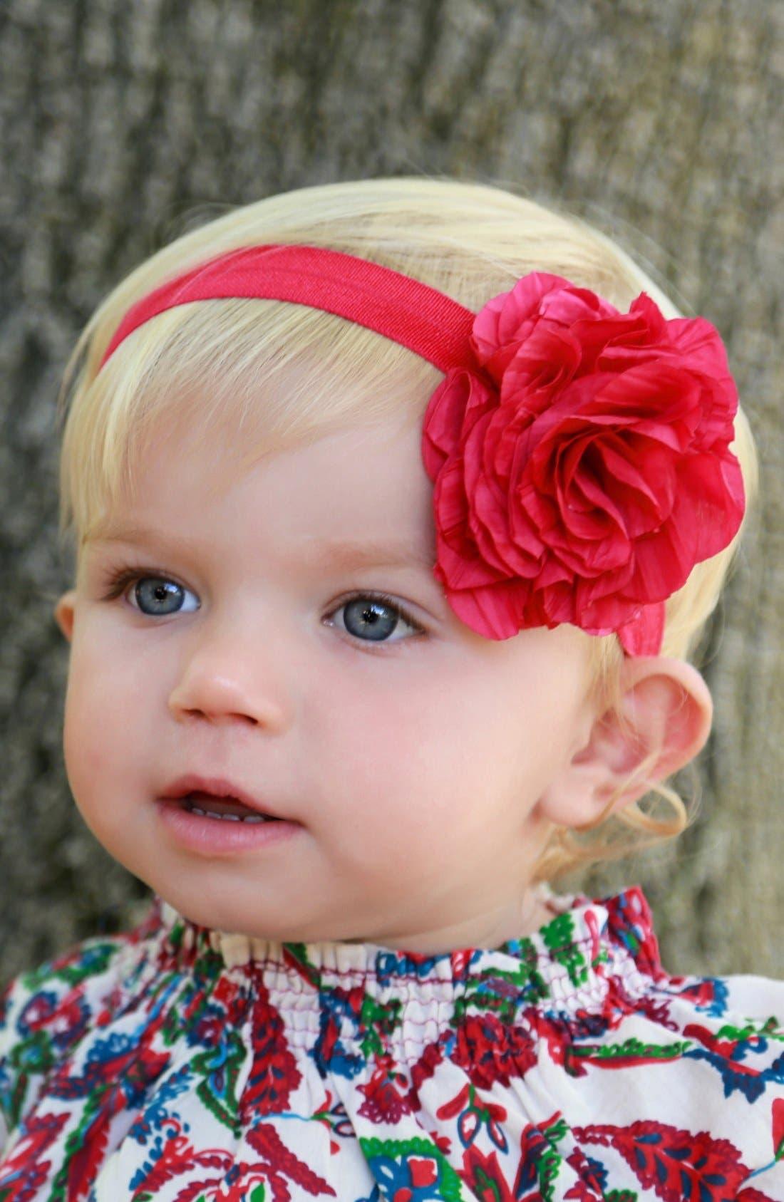 Flower Headband,                             Alternate thumbnail 3, color,                             Red