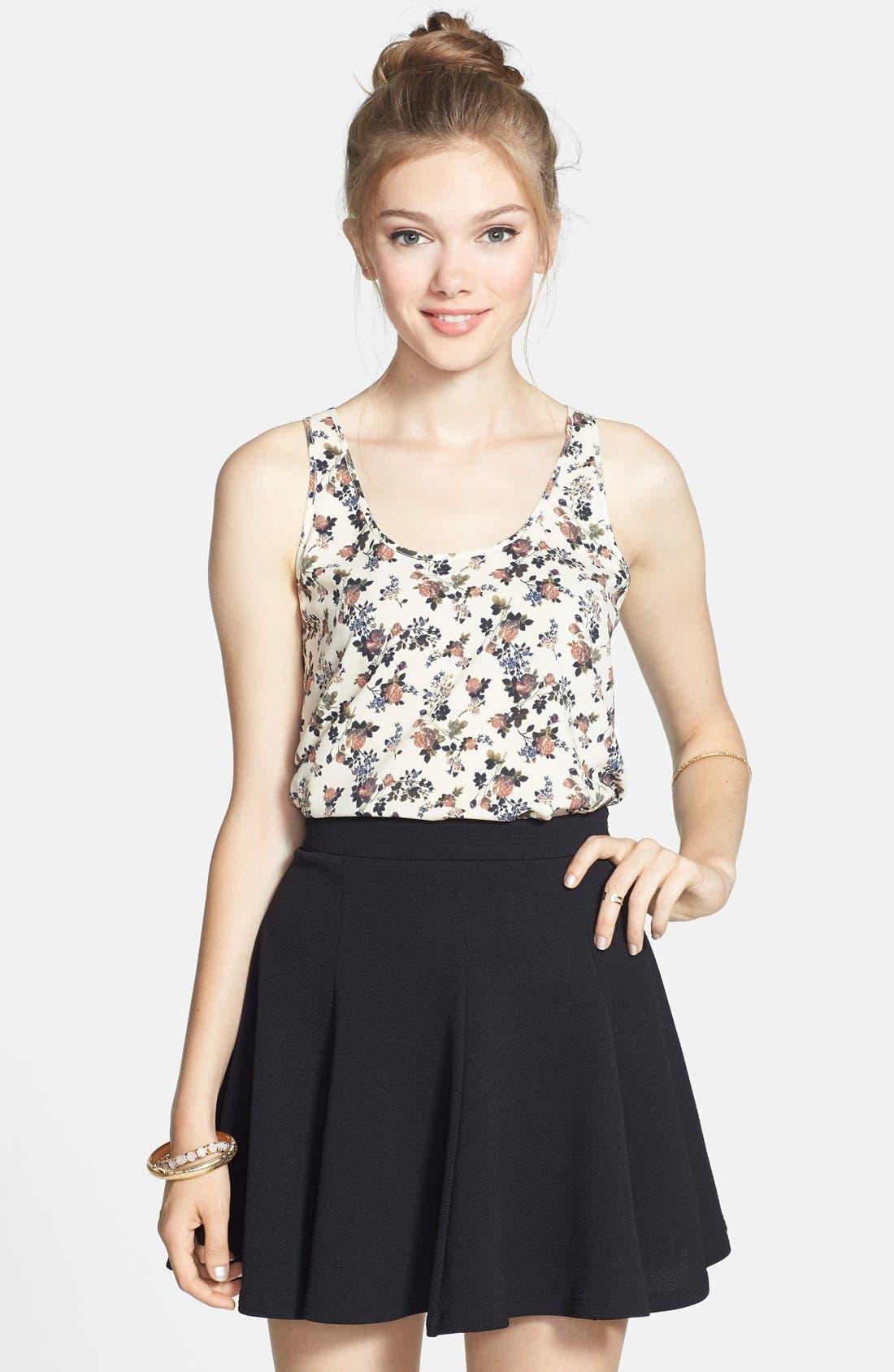 Textured Skater Skirt,                             Main thumbnail 1, color,                             Black