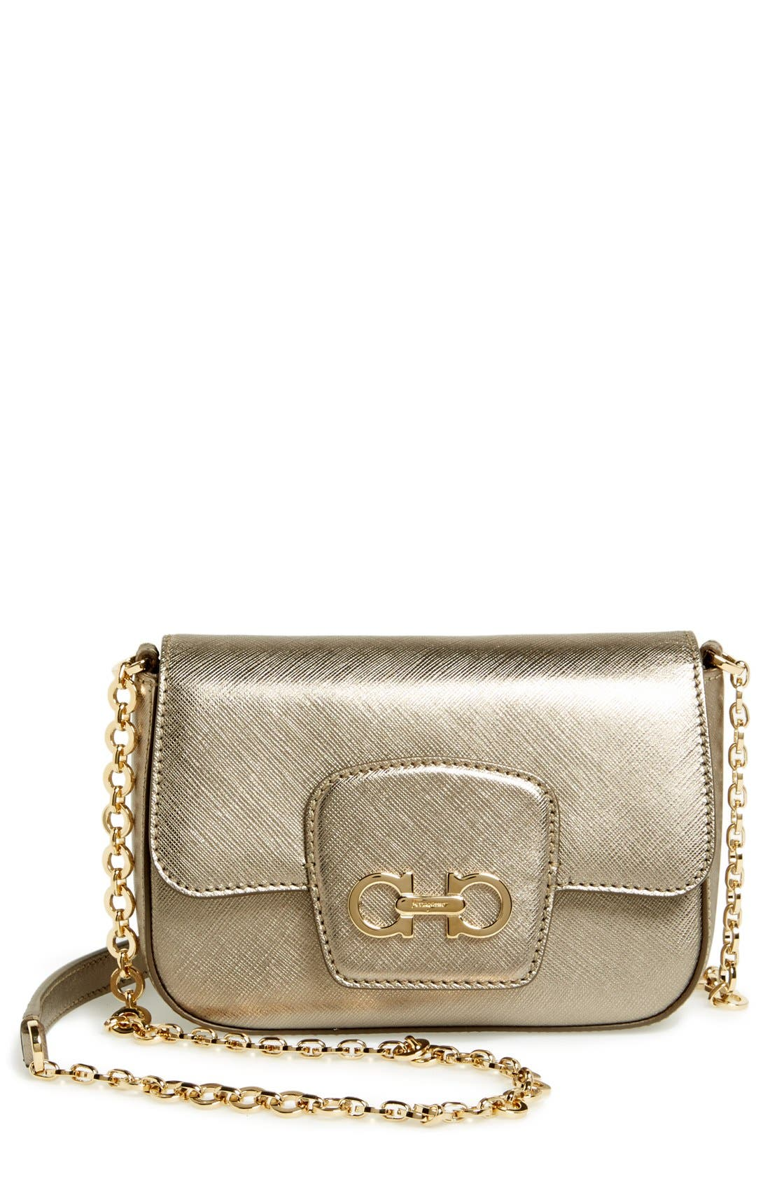 Alternate Image 1 Selected - Salvatore Ferragamo 'Paris Chain' Saffiano Leather Shoulder Bag