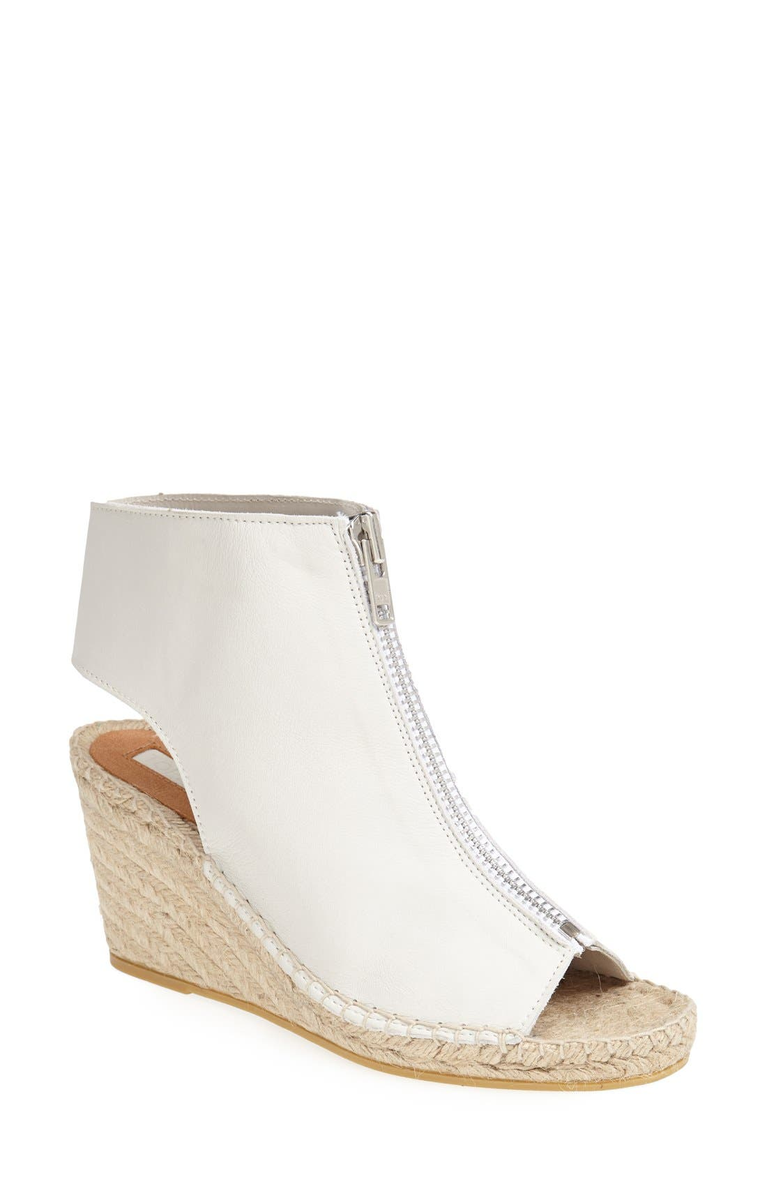 Main Image - Topshop Zip Up Cutout Leather Bootie Wedge