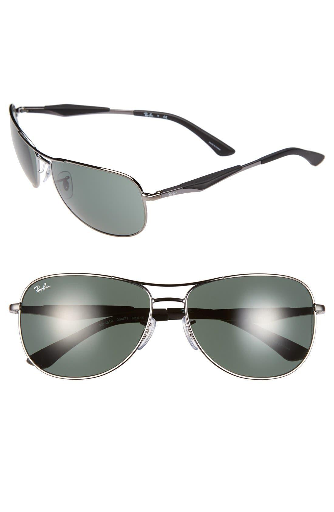 Main Image - Ray-Ban 62mm Steel Aviator Sunglasses