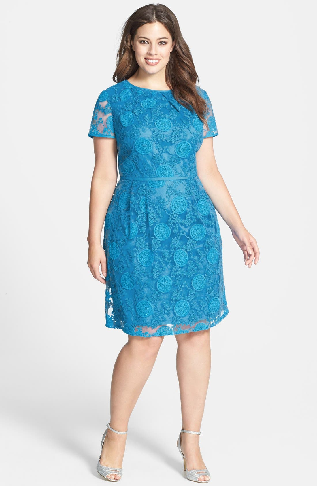 Alternate Image 1 Selected - Adrianna Papell 'Pleats' Lace Dress (Plus Size)
