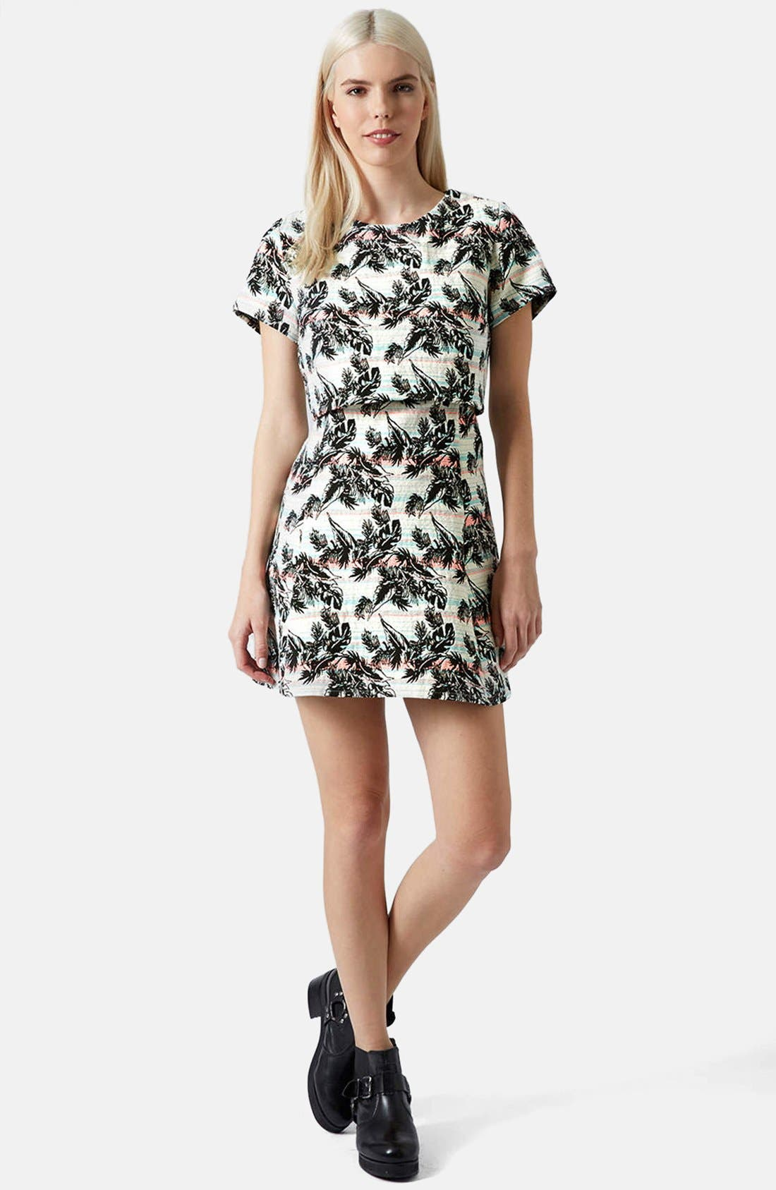 Alternate Image 4  - Topshop Leaf Print Crop Overlay Dress