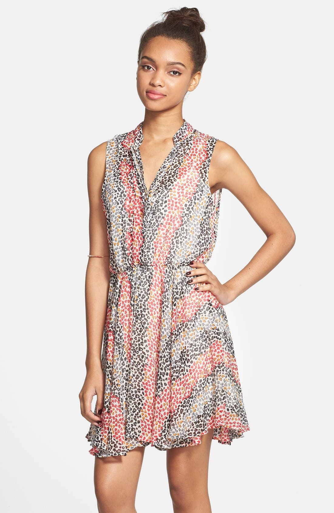 Main Image - Mimi Chica Sleeveless Surplice Dress (Juniors)