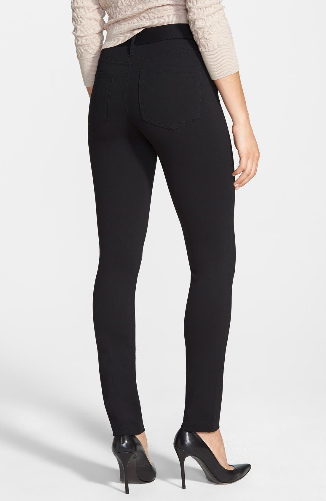 Ponte Skinny Pants,                             Alternate thumbnail 2, color,                             Black