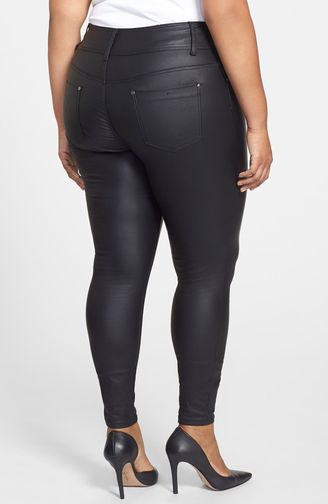 Wet Look Stretch Skinny Jeans,                             Alternate thumbnail 2, color,                             Black
