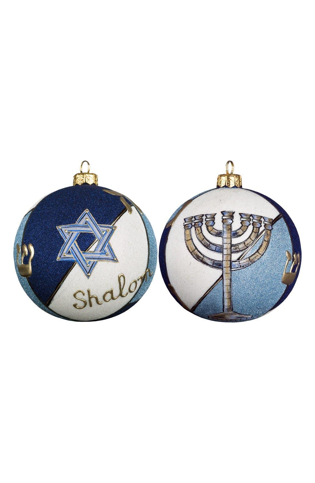 'Judaica Glitterazzi' Round Ball Decoration,                         Main,                         color, Blue