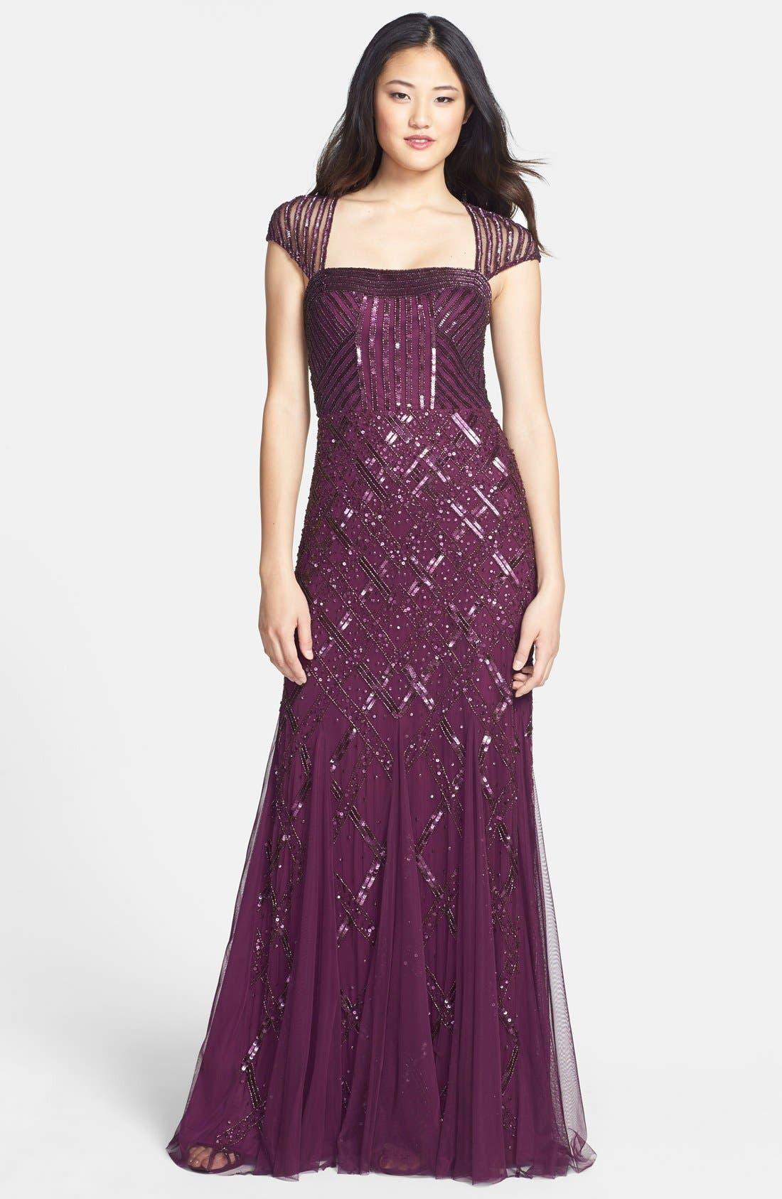 Alternate Image 1 Selected - Adrianna Papell Embellished Mesh Mermaid Gown (Regular & Petite)