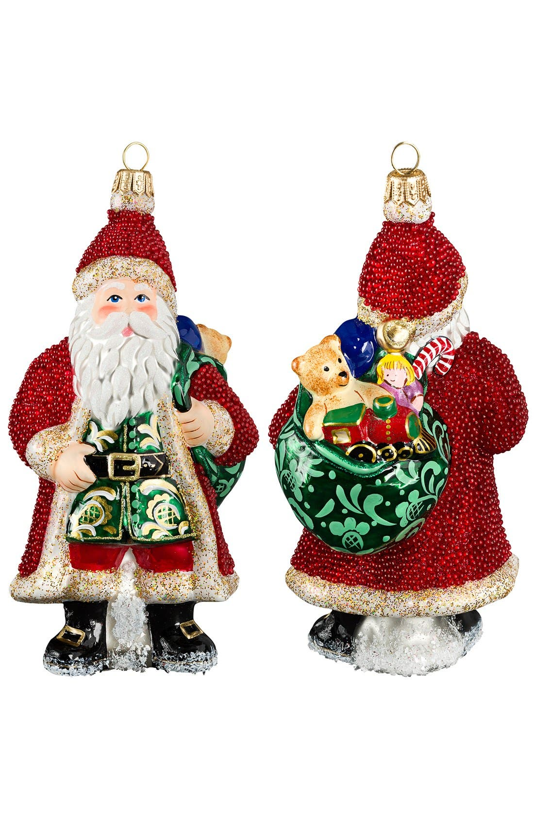 Galician Santa Ornament,                         Main,                         color, Red Beaded