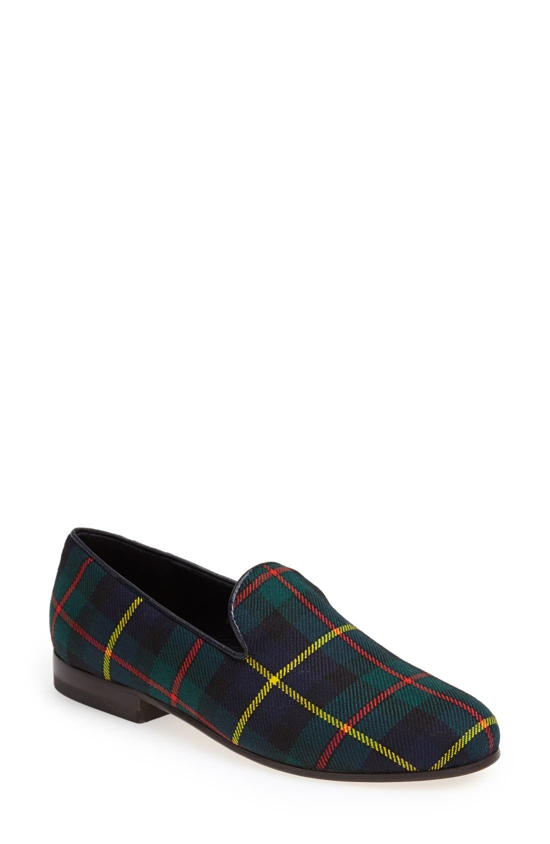Alternate Image 1 Selected - CB Made in Italy Plaid Smoking Loafer (Women)