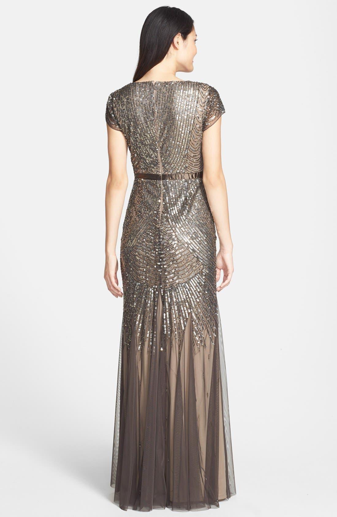 Alternate Image 2  - Adrianna Papell Beaded Mesh V-Neck Gown (Regular & Petite)