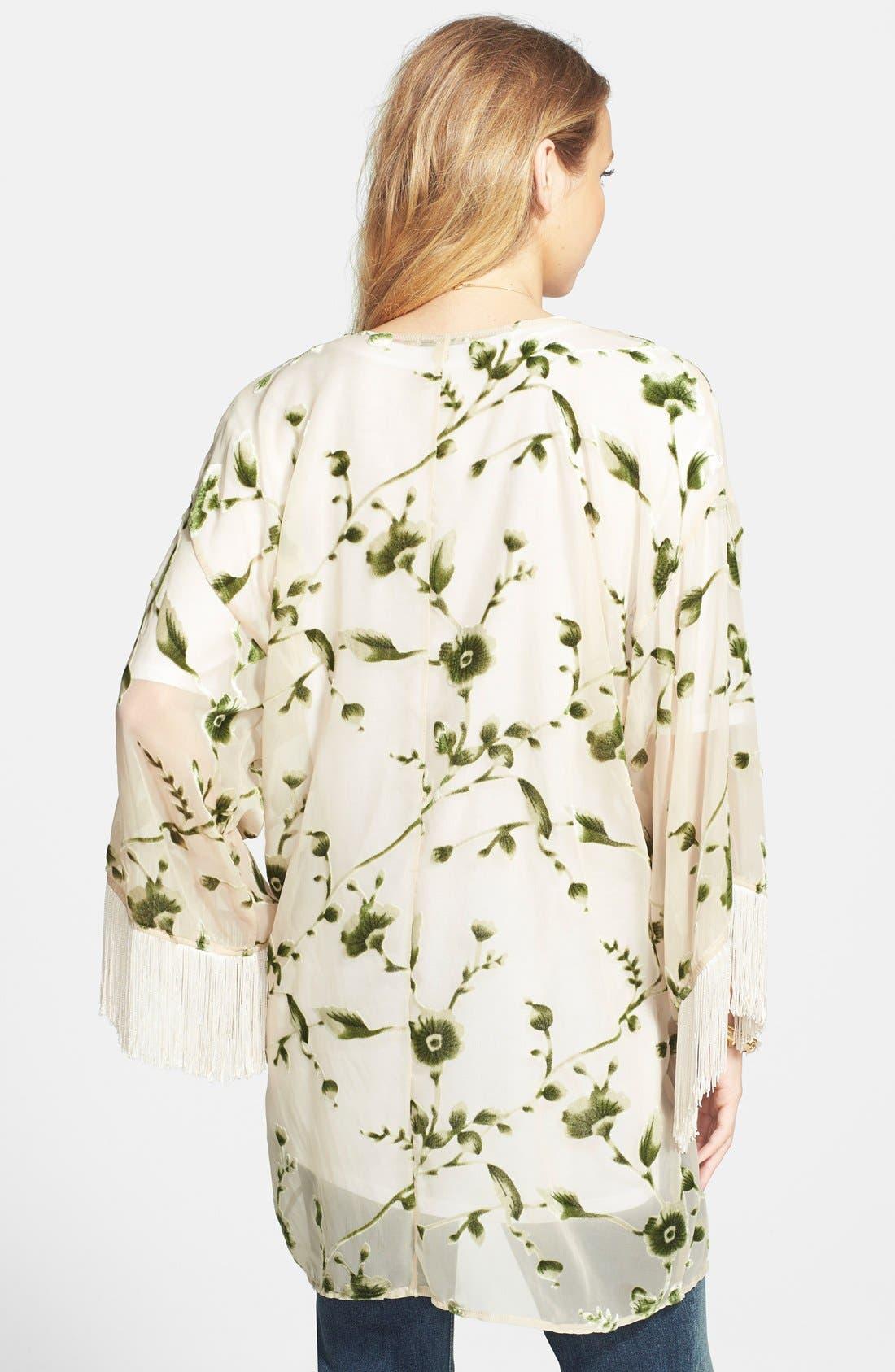 Alternate Image 2  - Lily White Velvet Detail Fringe Kimono Jacket (Juniors)