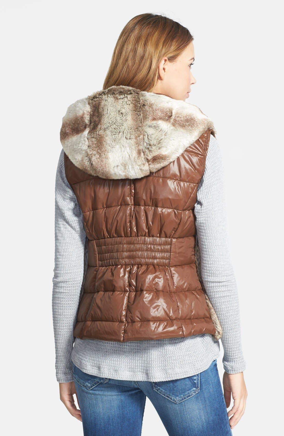 Alternate Image 2  - STELLA + LORENZO Reversible Faux Fur Hooded Down Vest