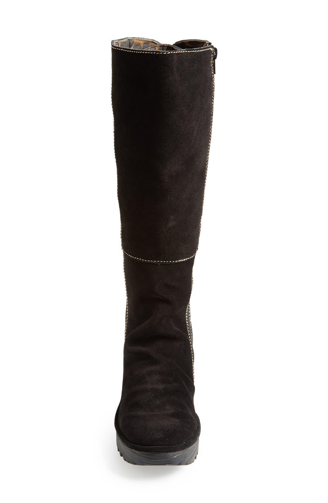'Yust' Knee High Platform Wedge Boot,                             Alternate thumbnail 3, color,                             Black Suede
