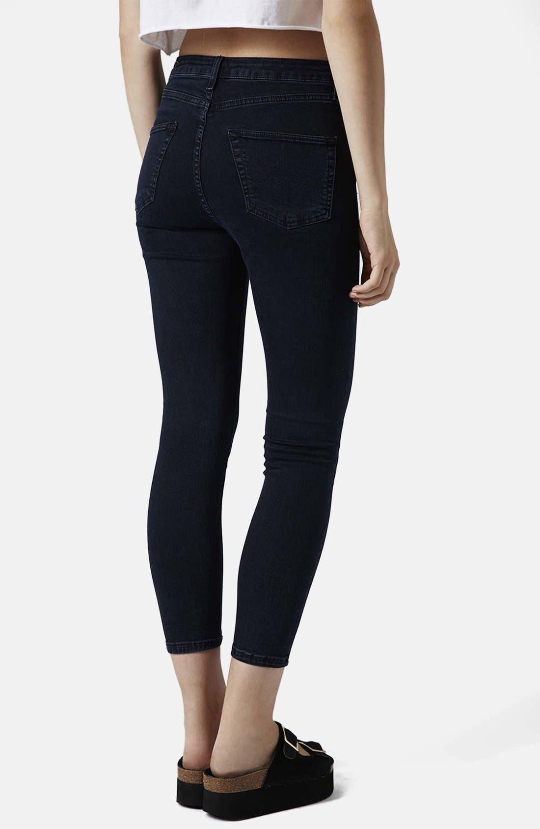 Alternate Image 2  - Topshop Moto 'Jamie' High Rise Ankle Skinny Jeans (Blue Black) (Regular, Short & Long)