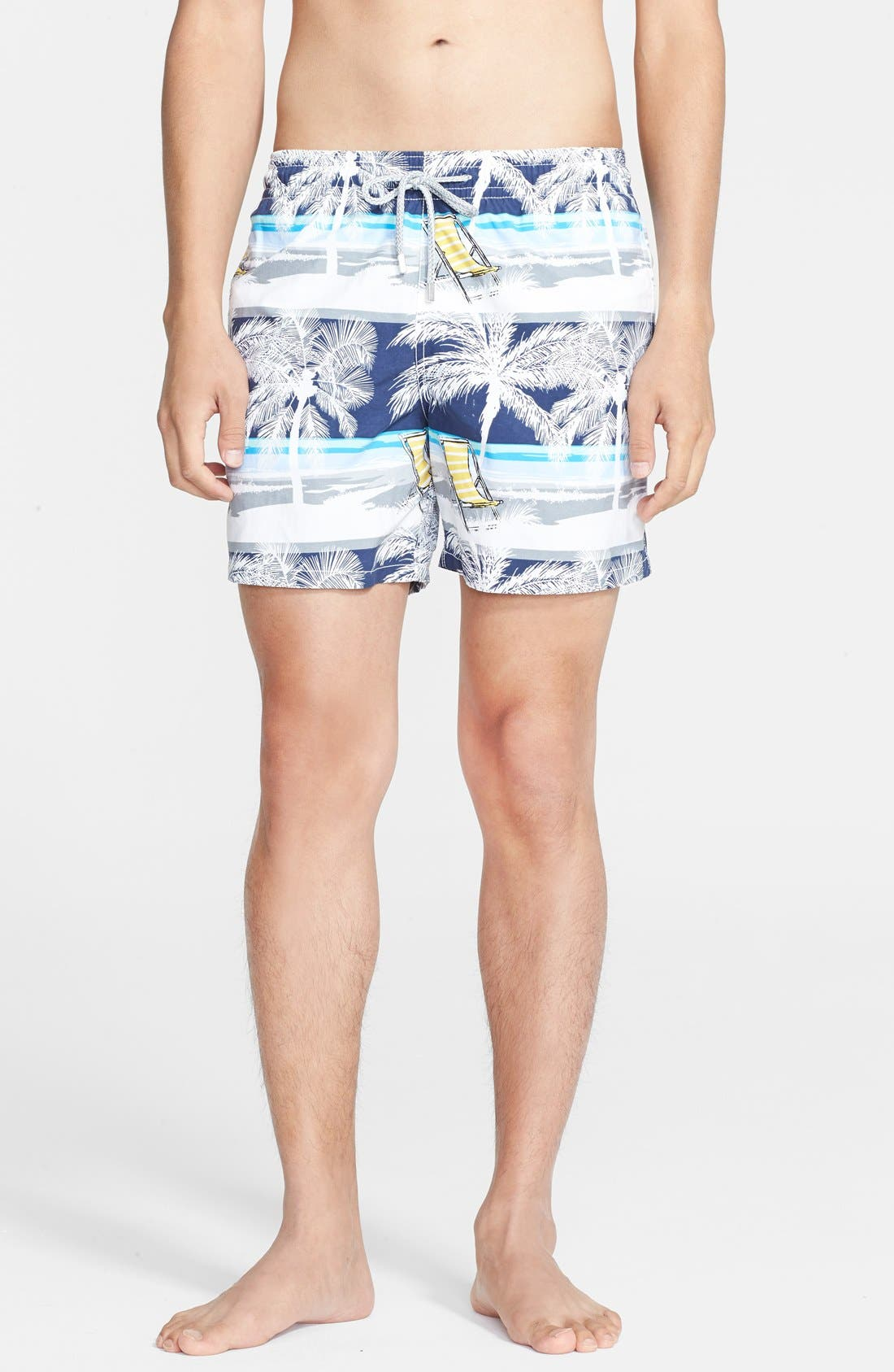 'Moorea' Beach Print Swim Trunks,                             Main thumbnail 1, color,                             Navy