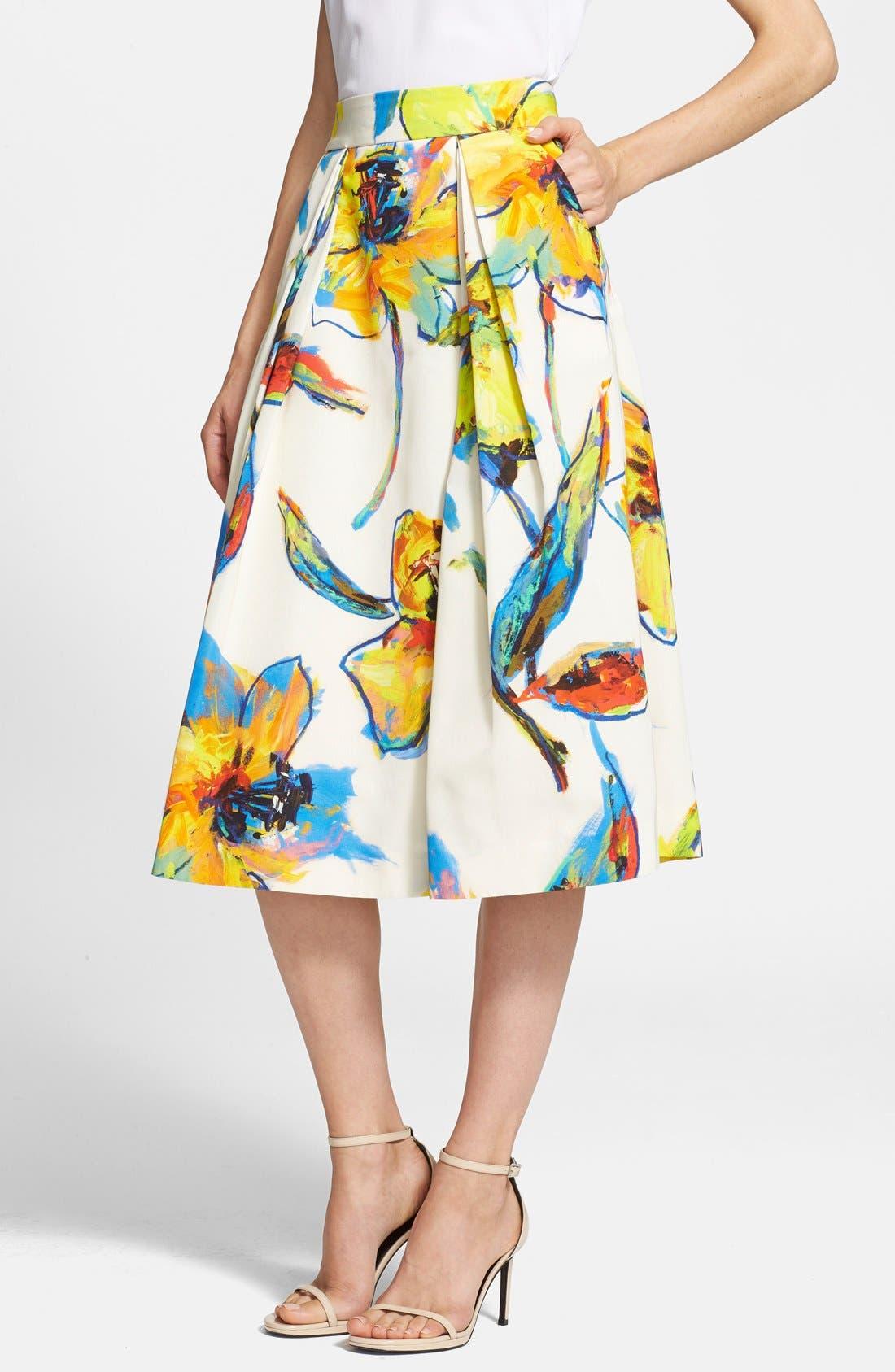 Main Image - Milly 'Luna' Floral Print Pleated Midi Skirt