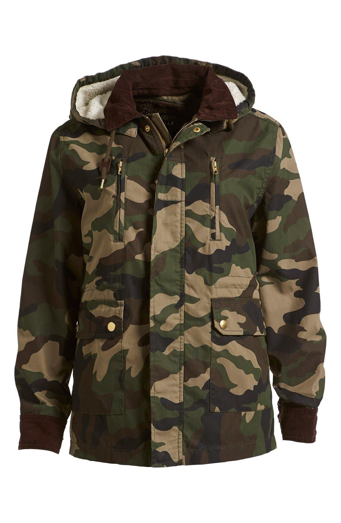 Alternate Image 1 Selected - izzue Hooded Camouflage Jacket (Women)