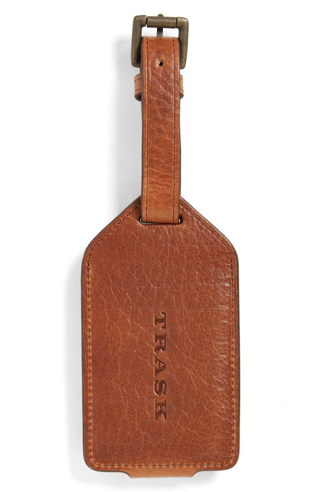 'Jackson' Bison Leather Luggage Tag,                             Alternate thumbnail 2, color,                             Cognac American Bison