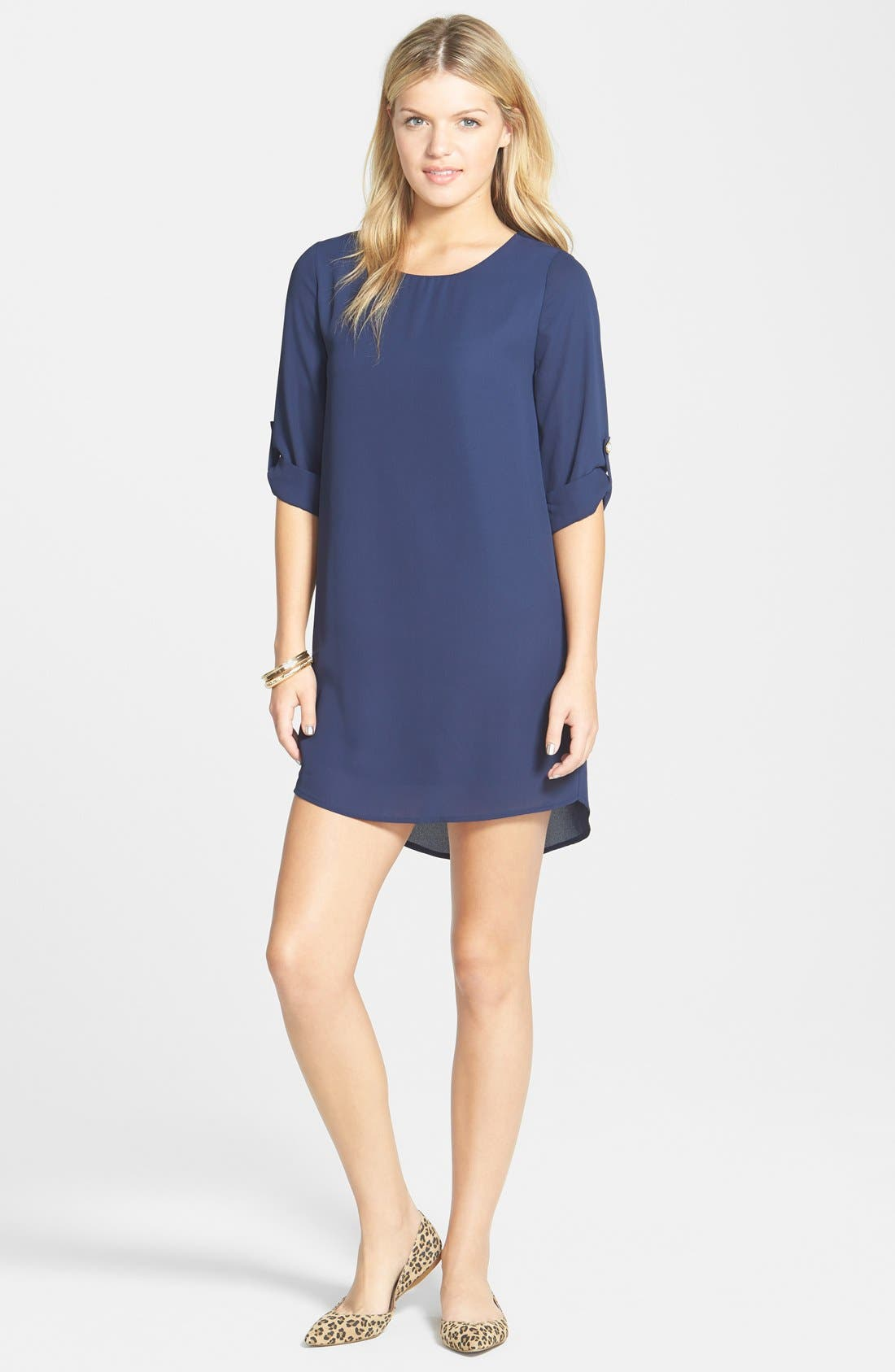Main Image - Everly Roll Tab Sleeve Shift Dress (Juniors)