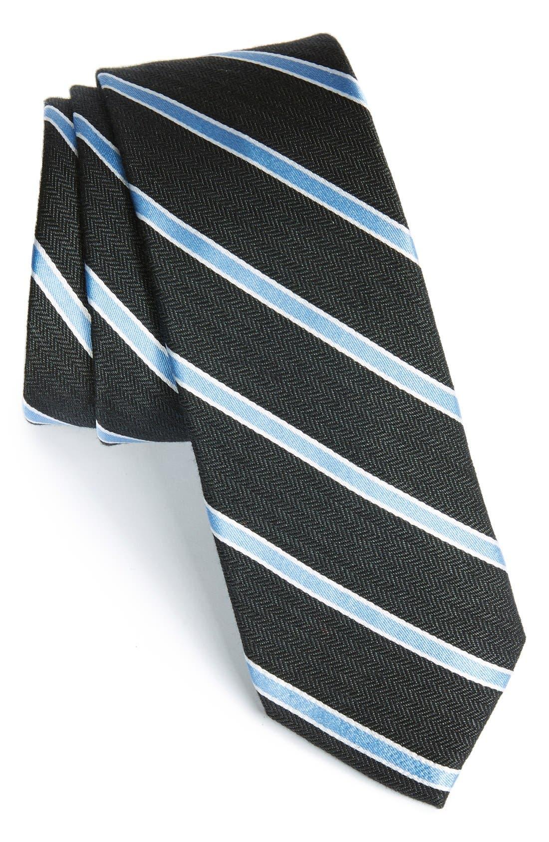 'Smoak' Stripe Woven Silk & Cotton Tie,                             Main thumbnail 1, color,                             Black