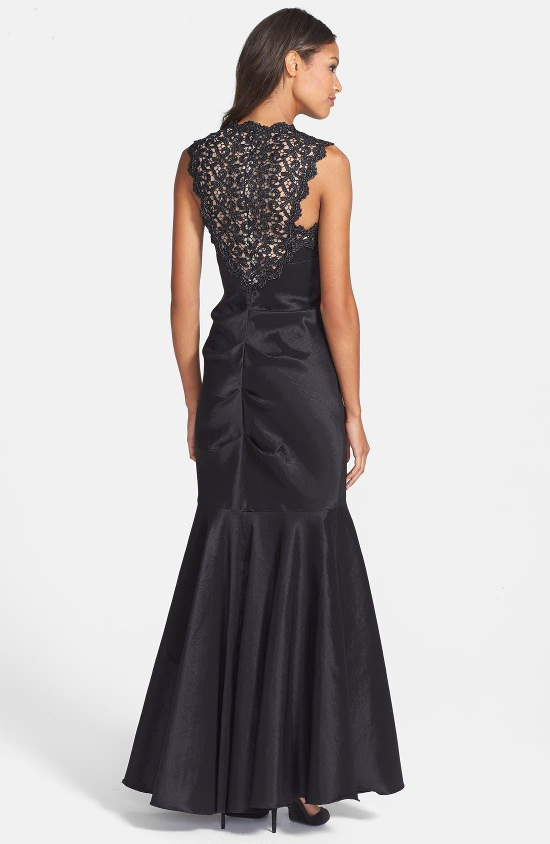 Alternate Image 2  - Xscape Lace & Taffeta Mermaid Gown (Regular & Petite)
