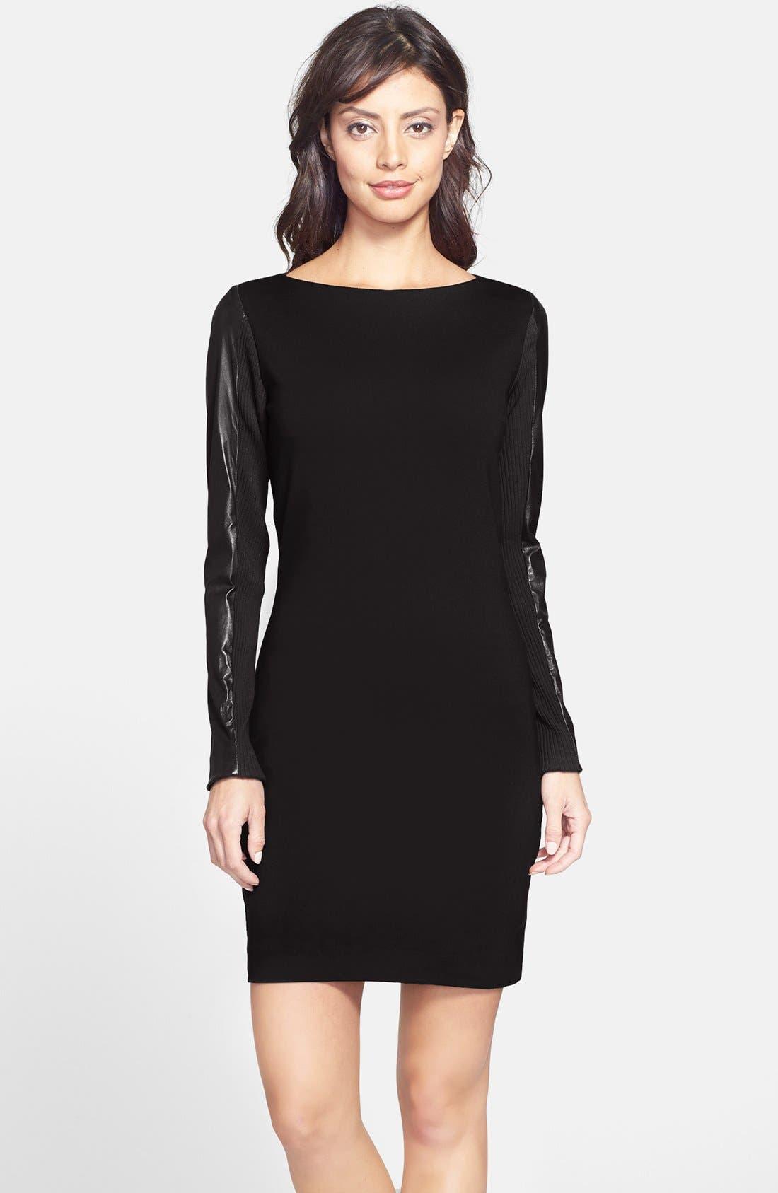 Main Image - Nicole Miller Leather Sleeve Ponte Body-Con Dress