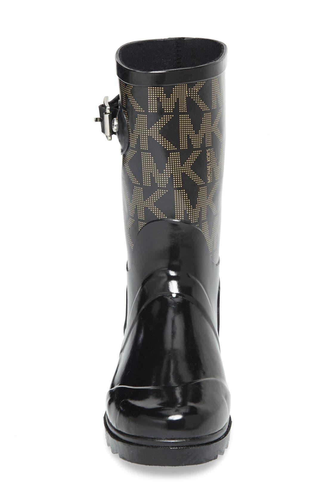 'Daisy Logo' Rain Boot,                             Alternate thumbnail 3, color,                             Black