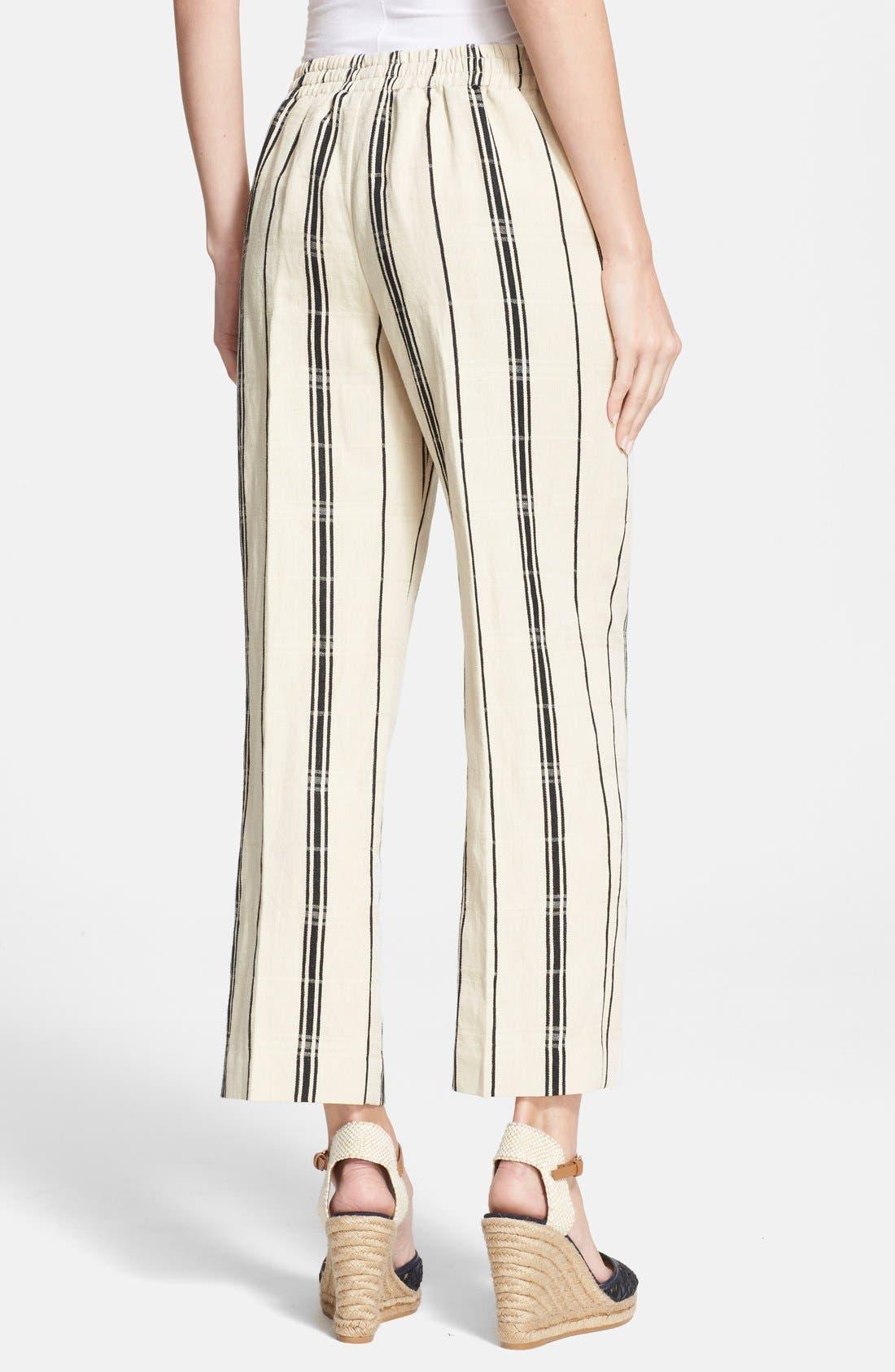 Alternate Image 2  - Tory Burch 'Carrie' Stripe Silk Blend Wide Leg Crop Pants