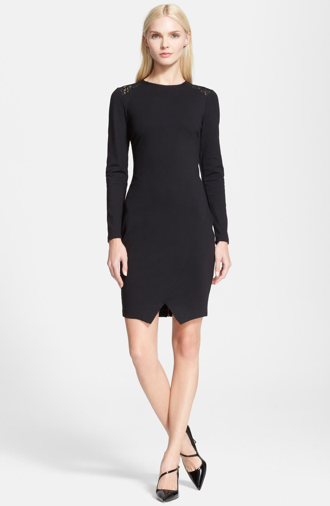 Alternate Image 1 Selected - Ted Baker London 'Mayaa' Lace Back Tulip Hem Body-Con Dress