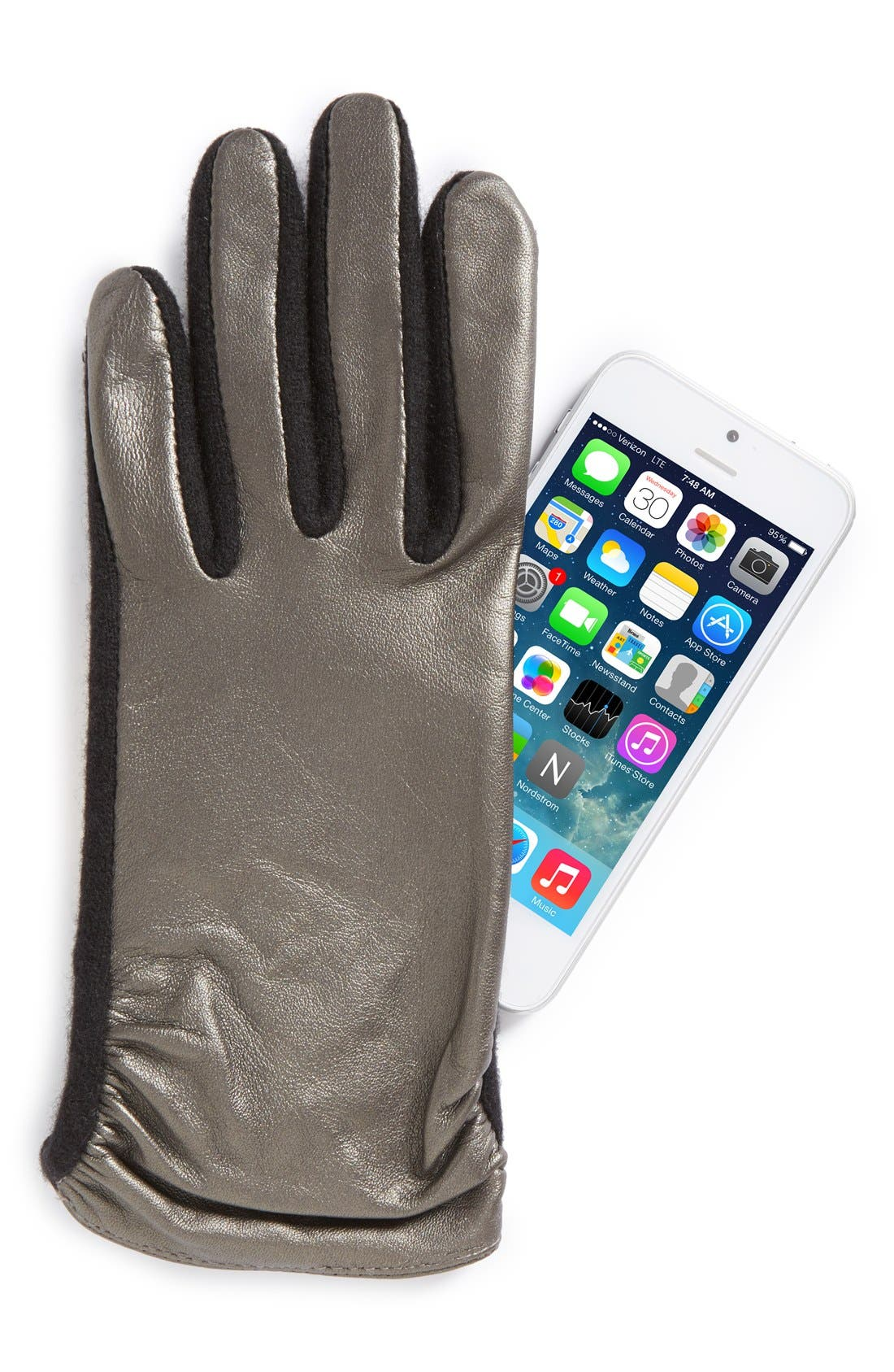 Alternate Image 2  - Echo 'Touch - Ruched Leather Mix' Gloves