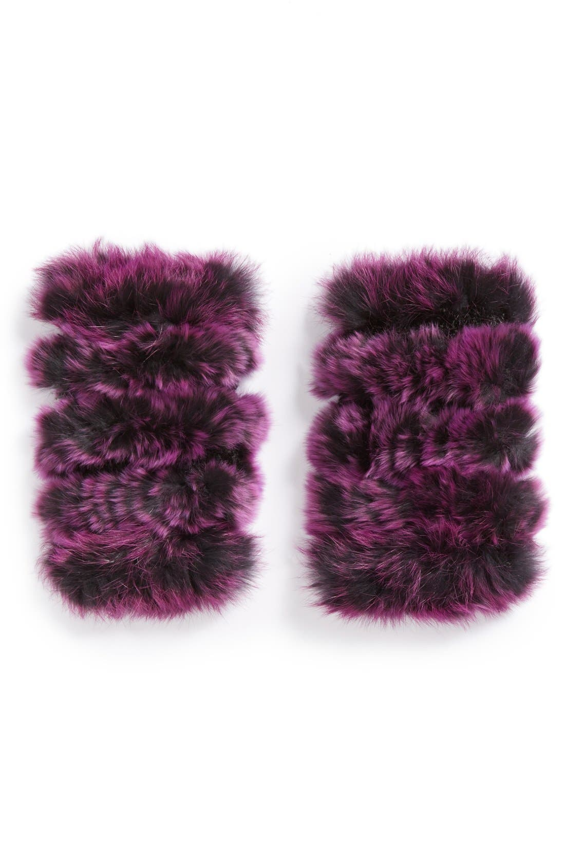 Main Image - Jocelyn Genuine Rabbit Fur Fingerless Mittens