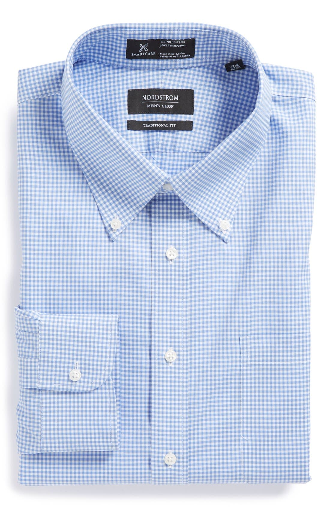 Main Image - Nordstrom Men's Shop Smartcare™ Traditional Fit Gingham Dress Shirt
