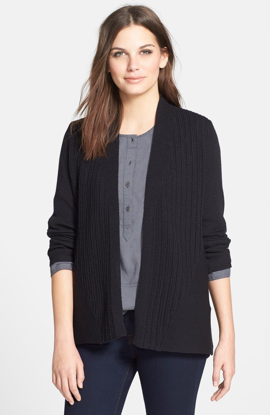 Main Image - Eileen Fisher Textured Wool Cardigan (Petite)