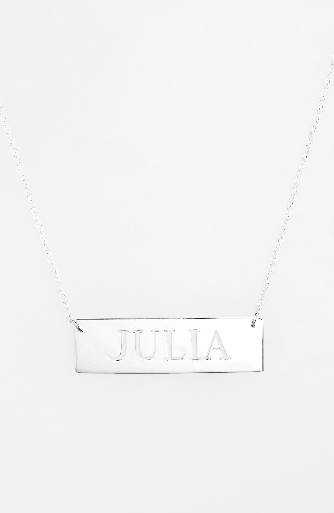 Personalized Cutout Nameplate Necklace,                             Main thumbnail 1, color,                             Silver