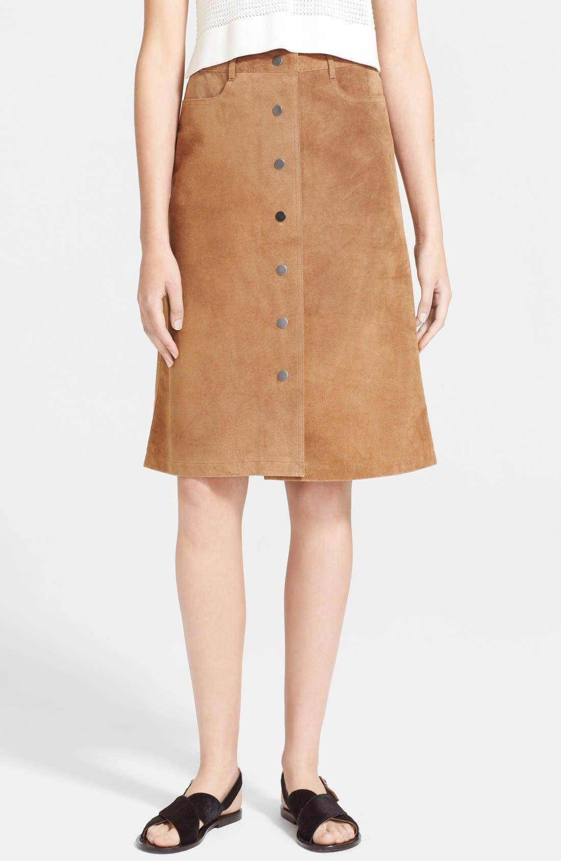 Main Image - Theory 'Pemma' Suede Midi Skirt