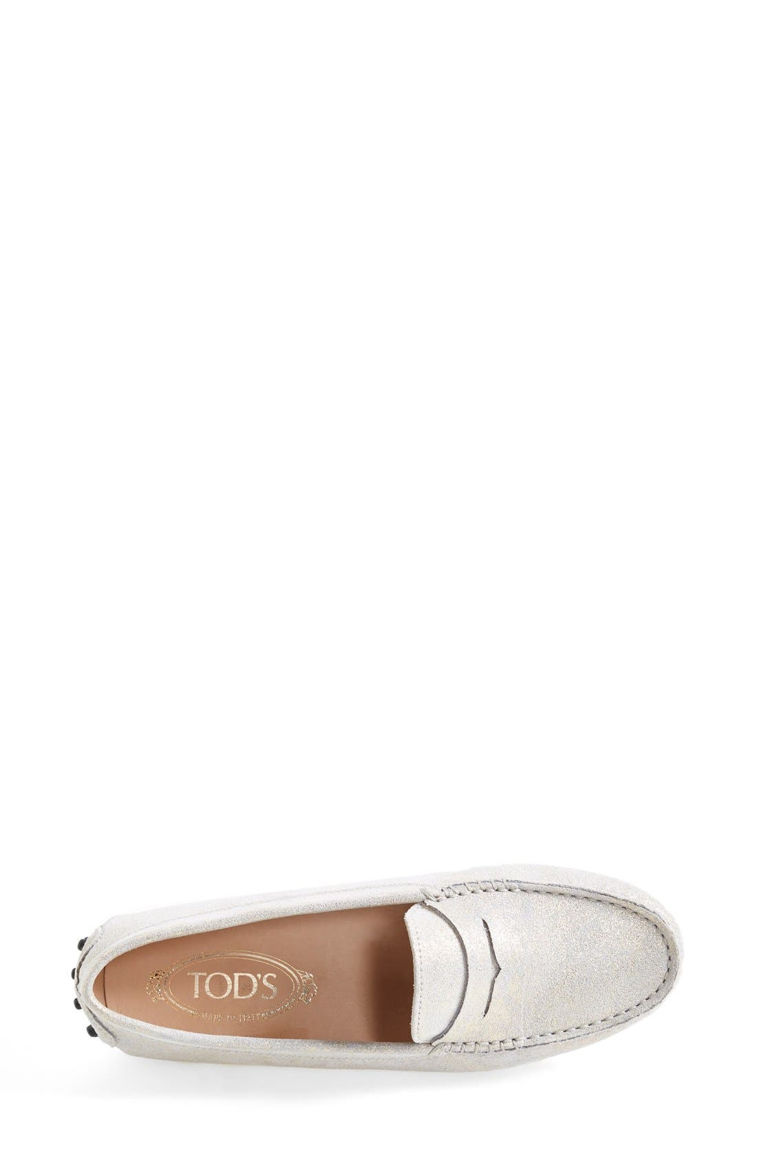 Alternate Image 4  - Tod's 'Gommini' Metallic Suede Penny Loafer (Women)