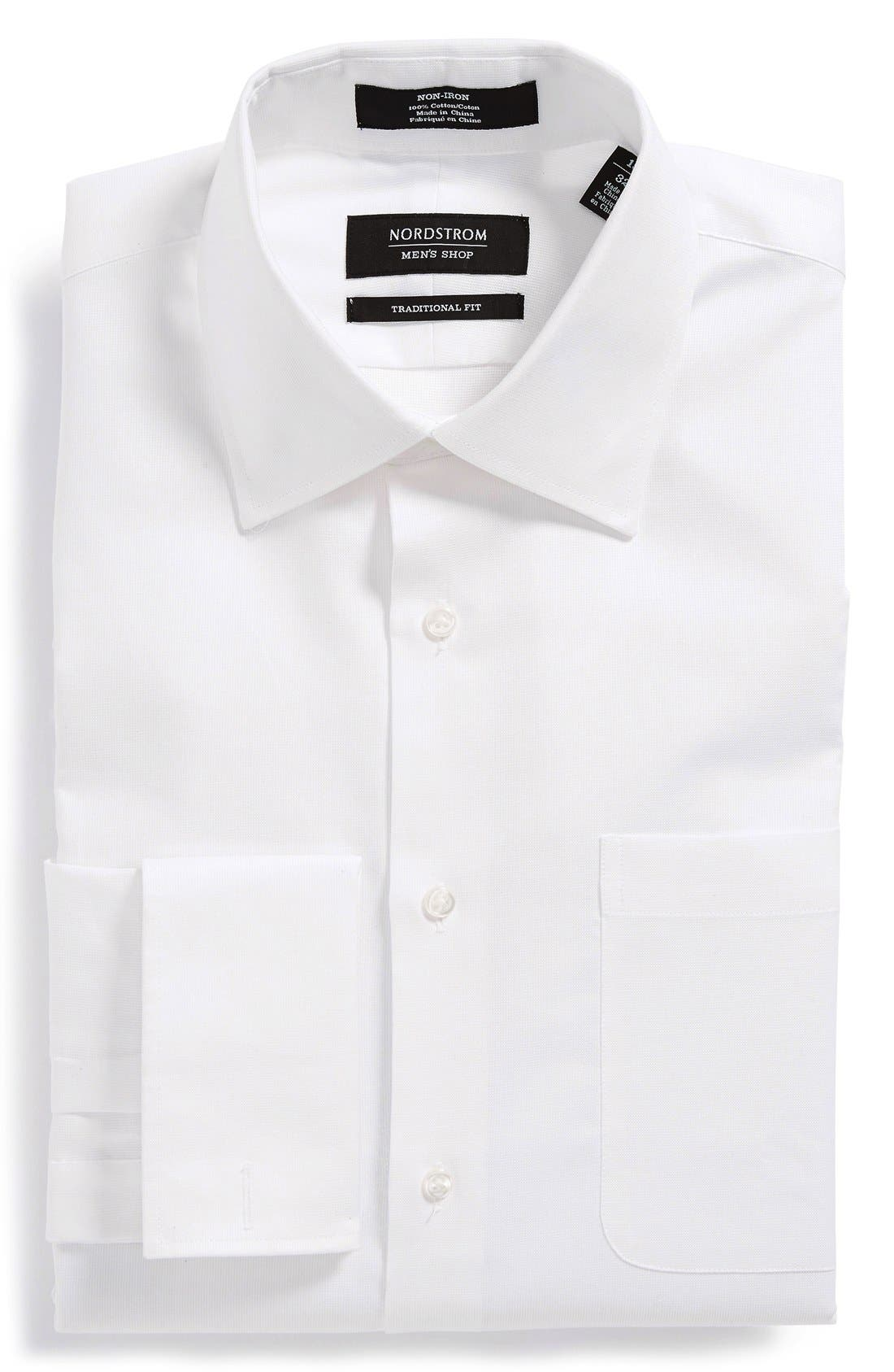 Nordstrom Traditional Fit Non-Iron Dress Shirt,                             Main thumbnail 1, color,                             White